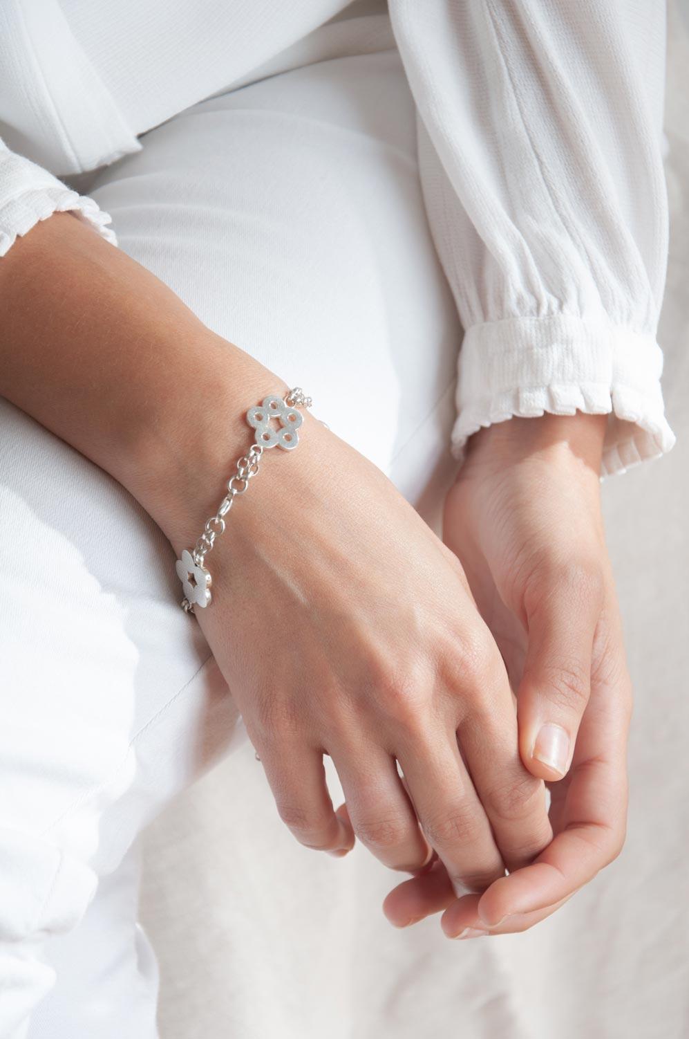 Silver Flora Oriental Bracelet